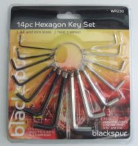 Blackspur 14 Piece Hexagon Allen Key Set (Metric & Imperial Sizes)